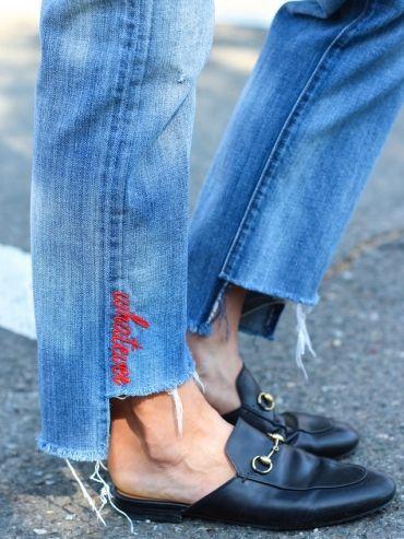 Вышивка - надпись по низу джинсов (подборка) / Переделка джинсов / ВТОРАЯ УЛИЦА