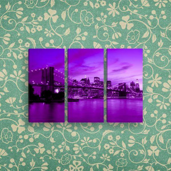 Модульная картина мост на фоне города | Магазин модульных картин