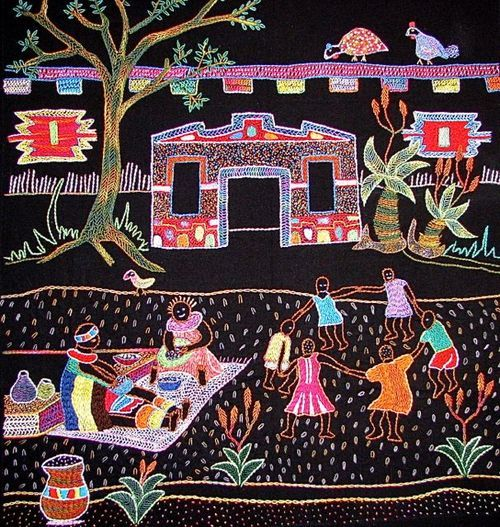 Hand embroidered wall hanging by women of the Intuthuko sewing group, Etwatwa Township near Johannesburg.. Available from www.africanthreads.ca