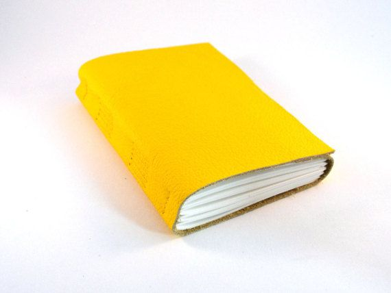 Bright yellow leather journal notebook sketchbook by LindeDesigns