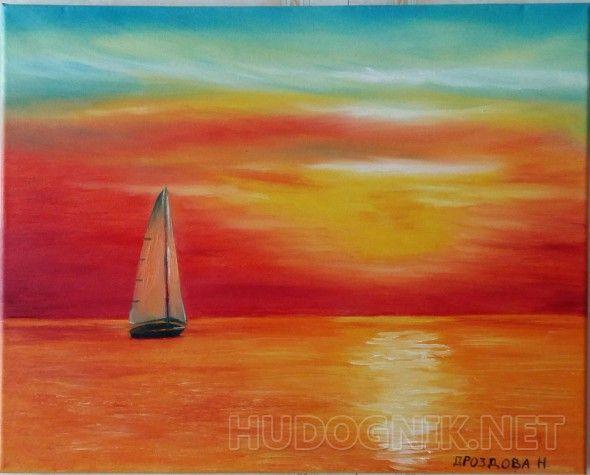 Закат Яркая умиротворяющая картина заката на море  подойдет для всех помещений от детской до кухни  может служить подарком для влюбленных в море