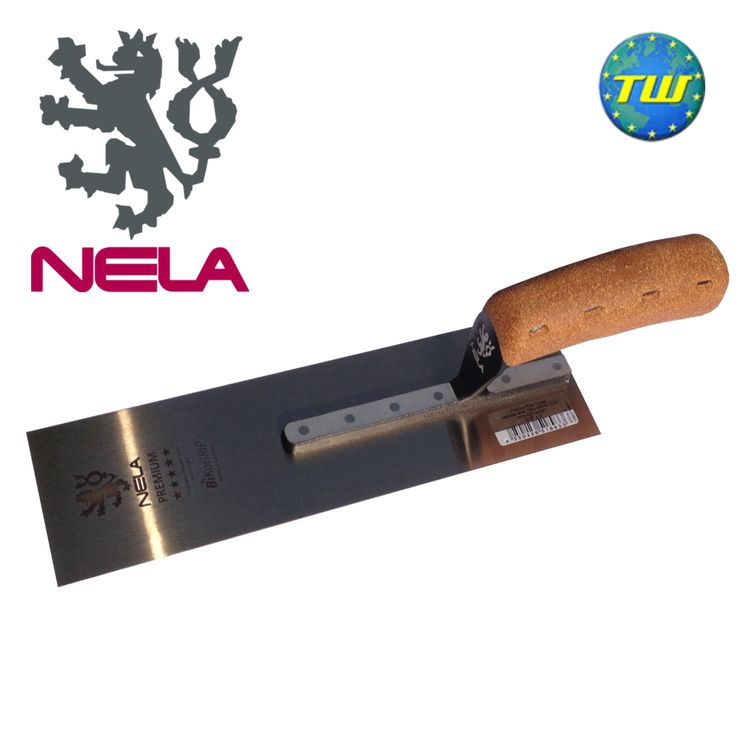 """http://www.twwholesale.co.uk/product.php/section/10327/sn/NELA-Pipe-Trowel-10.6x3  NELA Trowels 10.6"""" x 3"""" Pipe Trowel with BiKo Cork Grip Handle 10802708BK is fitted with a hardened stainless steel chrome blade for added flexibility and durability."""