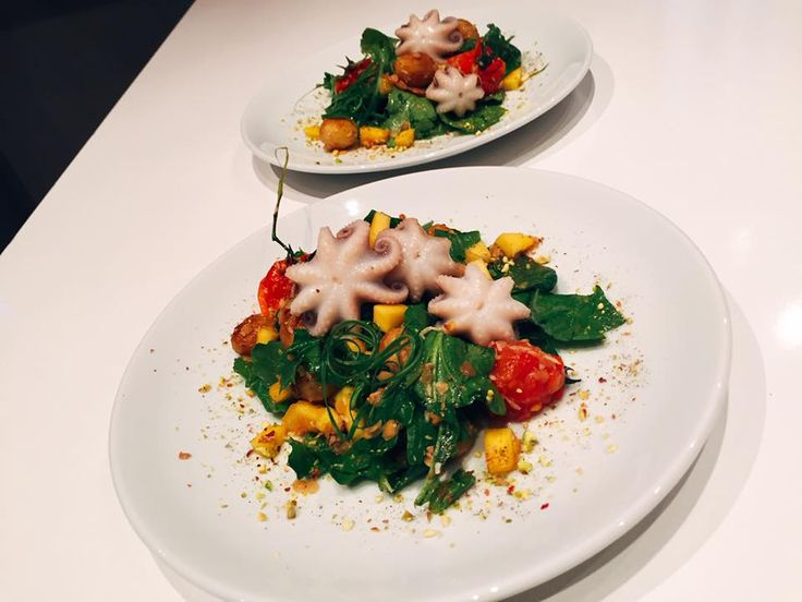 Octopus with Mango salad.  So nice and so testy. Looks great. Personal Chef Armenia (Chef Margaryan)
