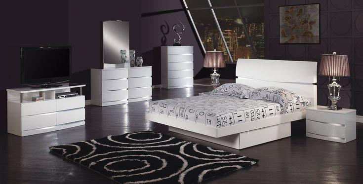 Aurora Platform Bedroom Set - White - Global Furniture