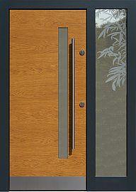 Drzwi zewnętrzne z doświetlem dostawką boczną model  427,12 w kolorze jasny dab + antracyt