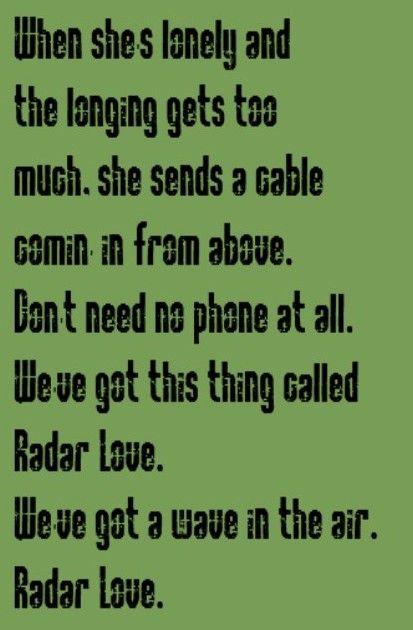 Golden Earring - Radar Love - song lyrics, music lyrics, song quotes,music quotes, songs