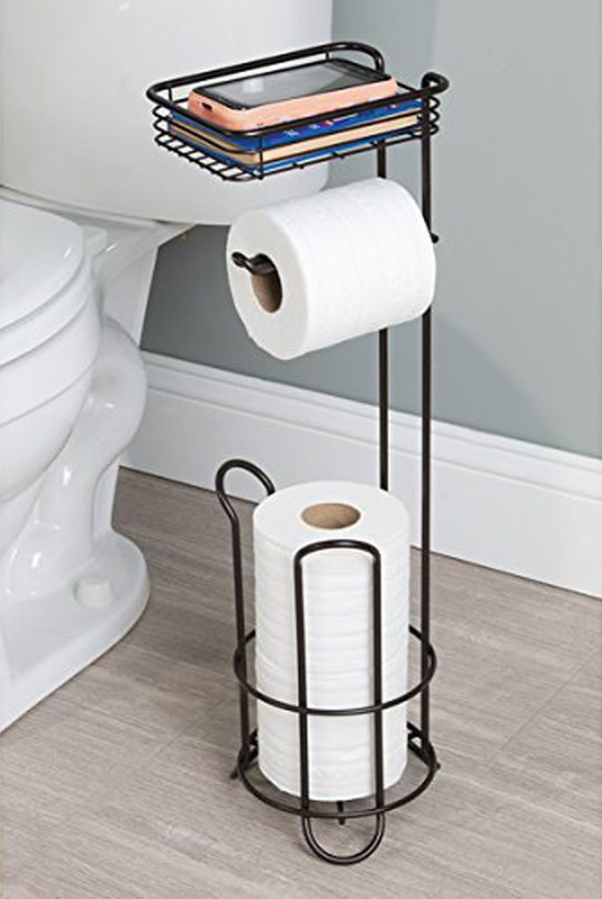 free standing toilet paper holder tissue roll stand bronze bathroom organizer metrodecor