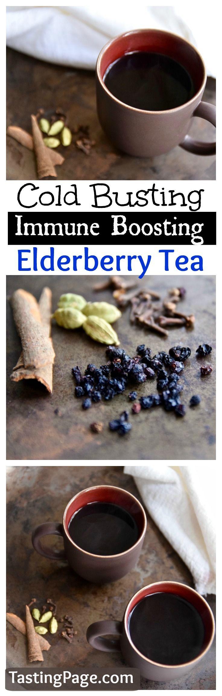 Stay heathy with this cold busting immune boosting elderberry tea | TastingPage.com #elderberry #tea #immunebooster