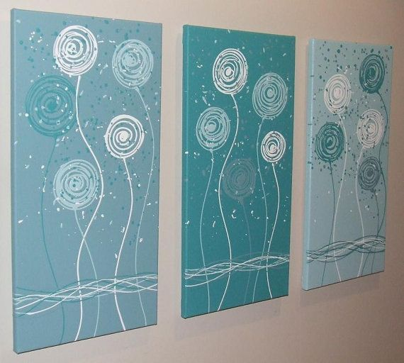 Teal Blue Aqua White Original Abstract Painting by por Artsolutely, $239.90