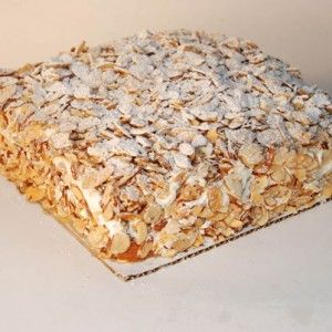 "Pittsburgh's most famous dessert, Prantl's burnt almond torte is made with our famous yellow ""scrap"" batter cake, creamy custard, homemade buttercream and loads of secret recipe toasted almonds."