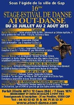 Festival de danse Atout Danse - 16ème stage estival de danse Atout Danse – Complexe sportif Jean-Christophe Lafaille - Plus d'infos : 04.92.53.62.72 et 06.71.35.53.37 - Classique, jazz, contemporain, hip hop, street jazz, musique en mouvement et percussions corporelles