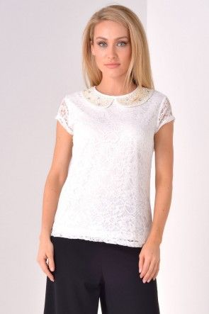 Thalia Embellished Collar Lace Top in Cream