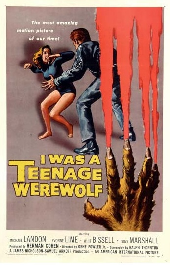 1957 I Was A Teenage Werewolf Original US Film Poster. £750 at Vintage Seekers.