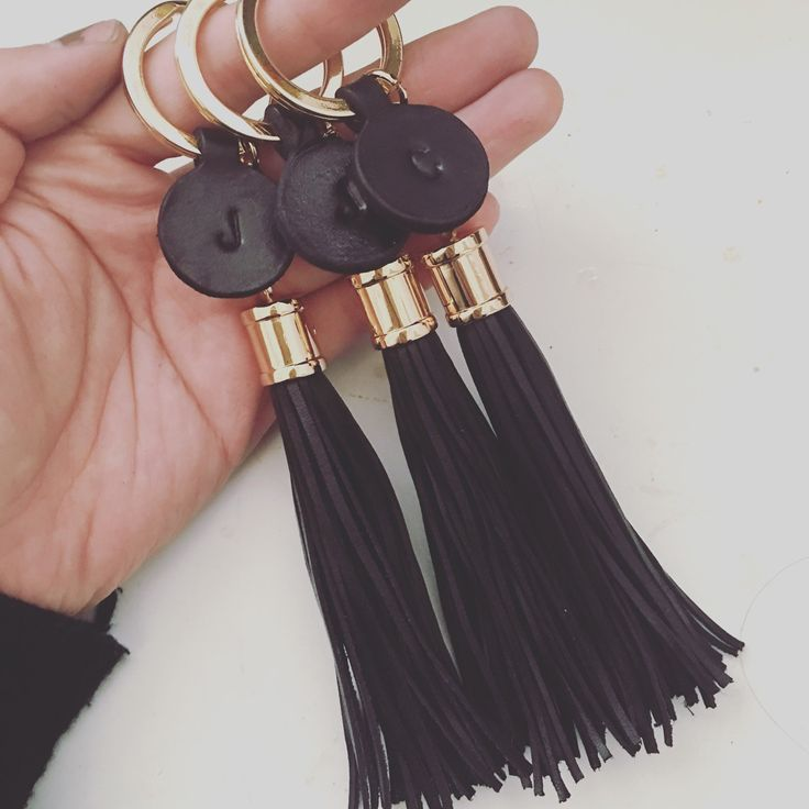 Leather tassel keychain Personalized initial by AliceandBo on Etsy