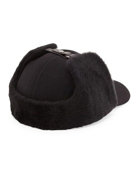 Wool and Shearling Trapper Baseball Cap, Black
