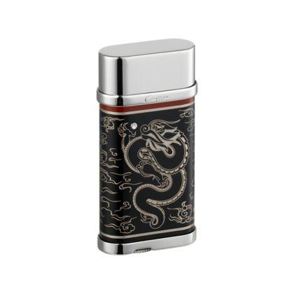 Cartier DRAGON DECOR LIGHTER. Black and red lacquer, palladium finish. $1,430.