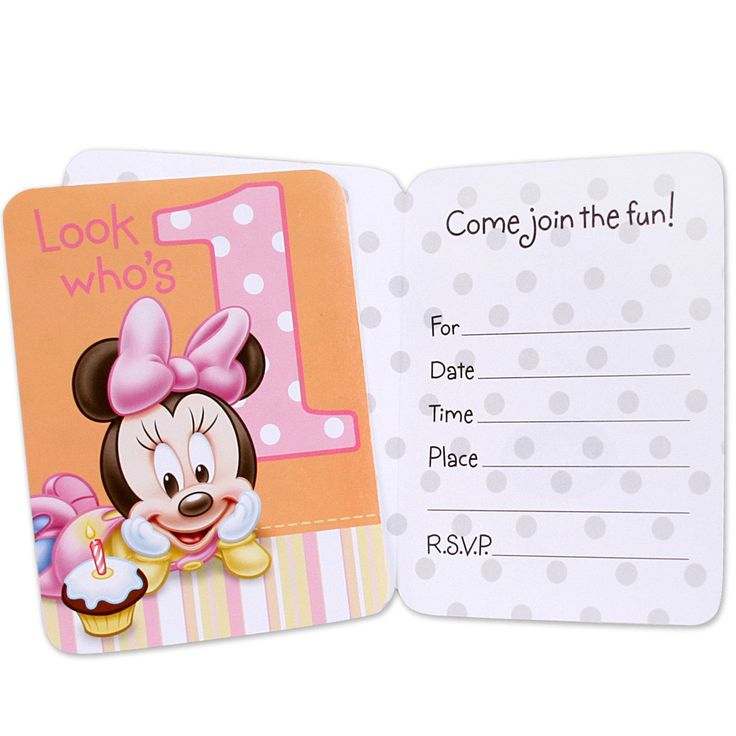 Disney Minnie's 1st Birthday Invitations Includes 8 invitations and envelopes. This is an officially licensed ©Disney product. Weight (lbs) 0.2 Length (inches) 7.8 Width (inches) 5 Height(inches) 0.5