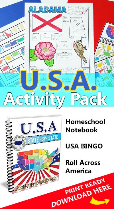 USA State by State Activity Pack includes 50 notebooking activity pages, USA BINGO and Roll Across America!  Download it from The Crafty Classroom: http://craftyclassroom.com/product/u-s-a-activity-pack/