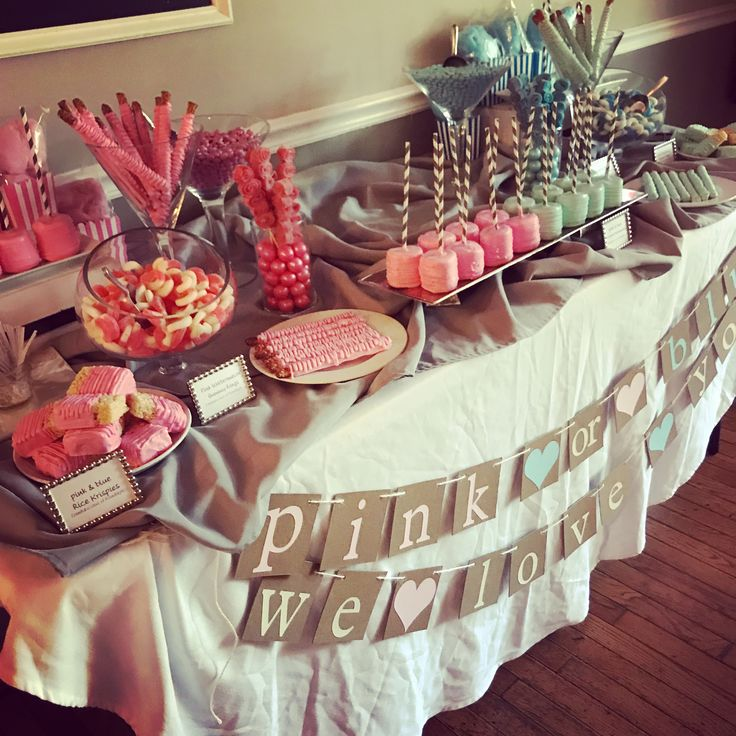 We Made This Pink & Blue Candy Table For A Gender Reveal