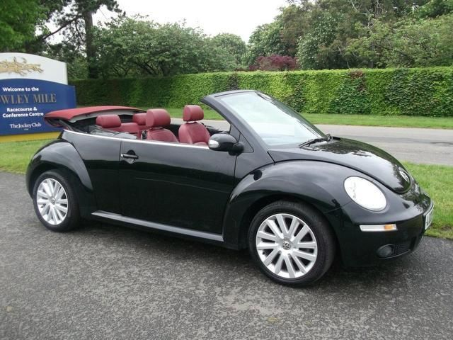 Vw Beetle Convertible In Black With A Red Interior Finally A Realistic Wish As I Ll Be In 2020 Vw Beetle Convertible Beetle Convertible Volkswagen Beetle Convertible
