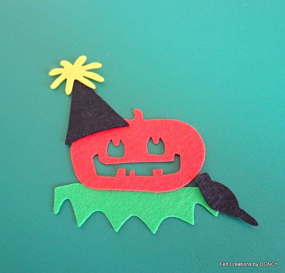 Die cut felt halloween pumpkin4 by FeltCreationsbyDGNCY on Etsy