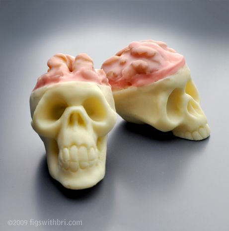 White and bittersweet chocolate truffle skulls with candied walnut brains