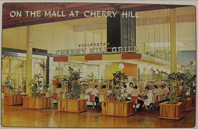 1960s CHERRY HILL GRILL Mall Interior Vintage NEW JERSEY Postcard