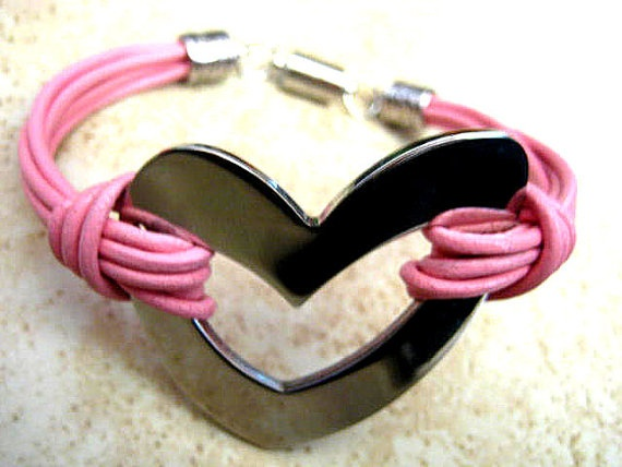 "Chic Pink Leather Silver Stainless Steel Heart Bracelet ... Magnetic Clasp ...""FREE SHIPPING""   by LeatherDiva, $24.00"