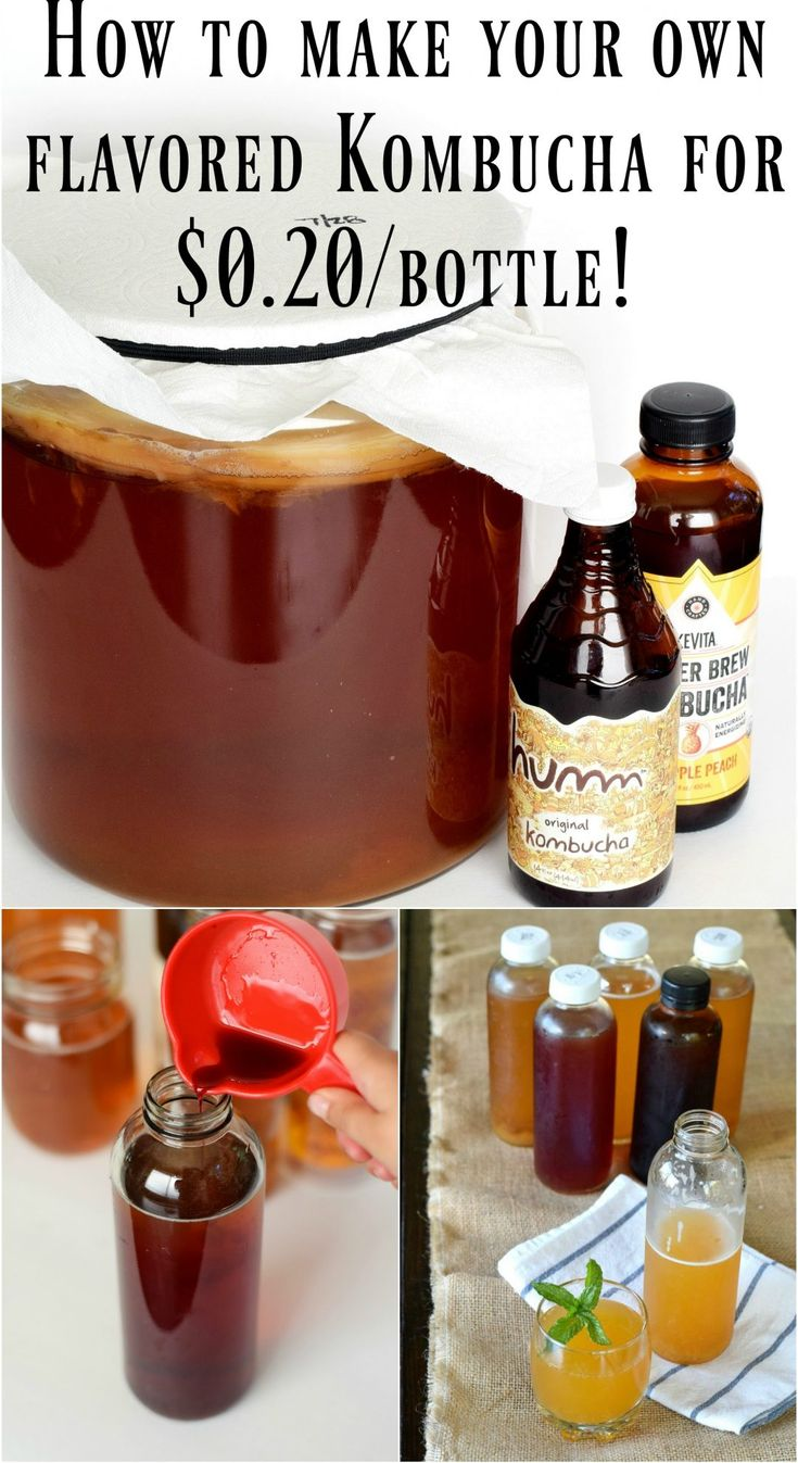 How to make your own flavored Kombucha for only $0.20/bottle!