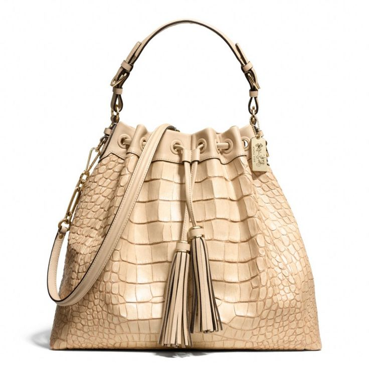 MADISON CROC EMBOSSED PINNACLE LARGE DRAWSTRING SHOULDER BAG - COACH