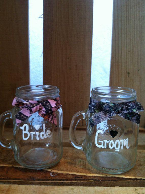Mason Jar Shot Glass set Camo shot glass Wedding by ItsJustSlate, $12.00