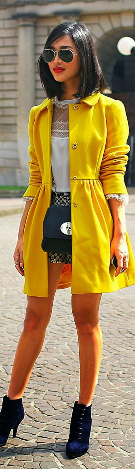 Yellow the Pop Color Coat with Lace Top | Chic Str...