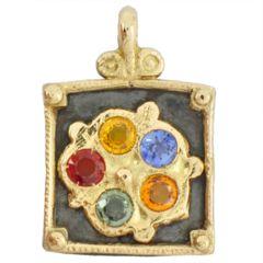 Pendentif cadre antique en or jaune et argent vieillit avec cinq saphirs de couleur. Collection Antique de Luc Taillandier. http://www.luc-t.com