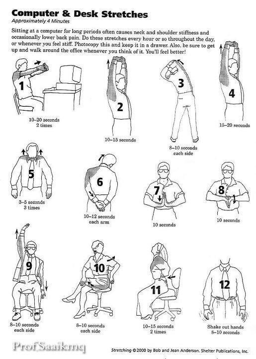 Stretching should be part of every day because flexibility is an important component of physical fitness. Here are some stretches to try at work.