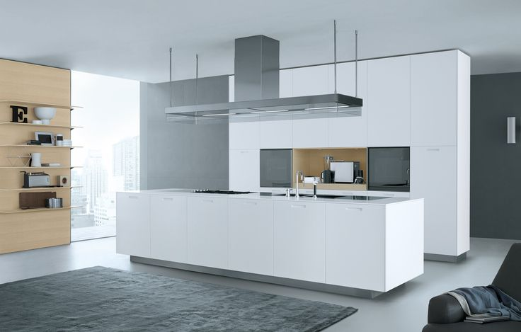 Kyton in embossed lacquer glacier white, peninsula worktop and open compartments in oak.