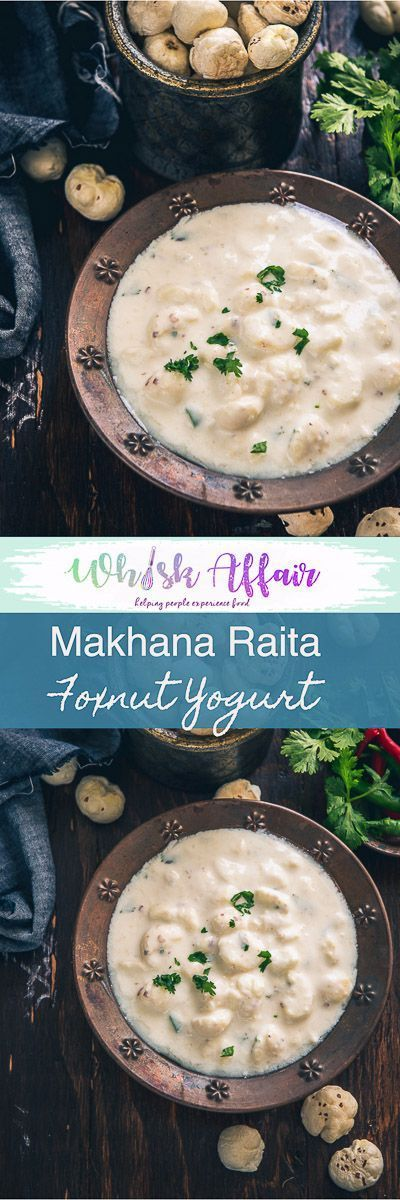 Phool Makhana Raita Recipe is a nutritious, slightly crisp accompaniment made from curd and lotus seeds. It is best to serve along with main course dishes. Indian, Lotus seeds, Fox Nut, raita, curd, yogurt, easy, healthy, vegetarian, gluten free, falahari, vrat, fasting, recipe, navratri, janamashtami, shivratri via @WhiskAffair