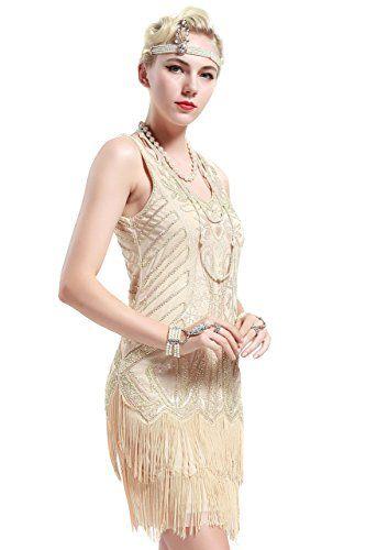 Babeyond Vestito Gatsby Donne 1920s Vestito Abito Anni 20 Donna Flapper  Dress 1920s Vestito da Sera Paillette Impreziosito Frange Gatsby Dress  Senza Maniche ... 9e280bd0eab