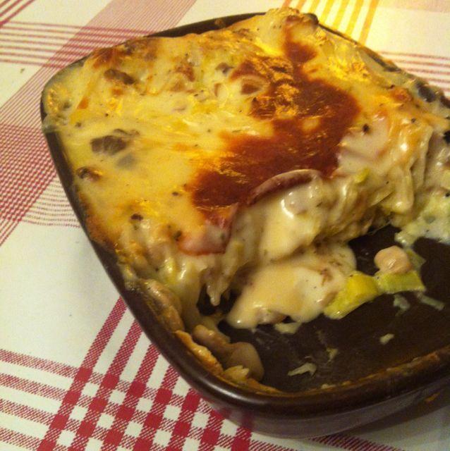 Lasagnes végétariennes (champignons et poireaux)