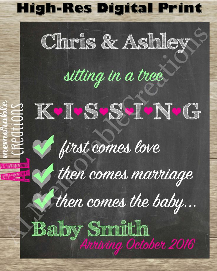 Sitting in a Tree KISSING/Photo Shoot Prop/First Baby Announcement Chalkboard Print/Digital File/Pregnancy Announcement/Expecting First Baby by ALMemorableCreations on Etsy