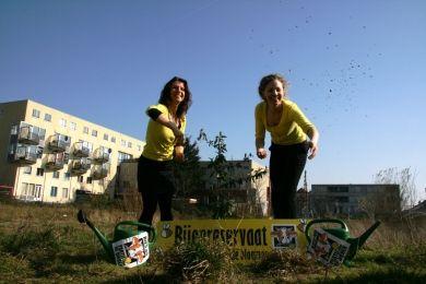 Esther Ouwehand en lijsttrekker Christine Teunissen hebben in Den Haag verwaarloosde grond ingezaaid en uitgeroepen tot 'Bijenreservaat'