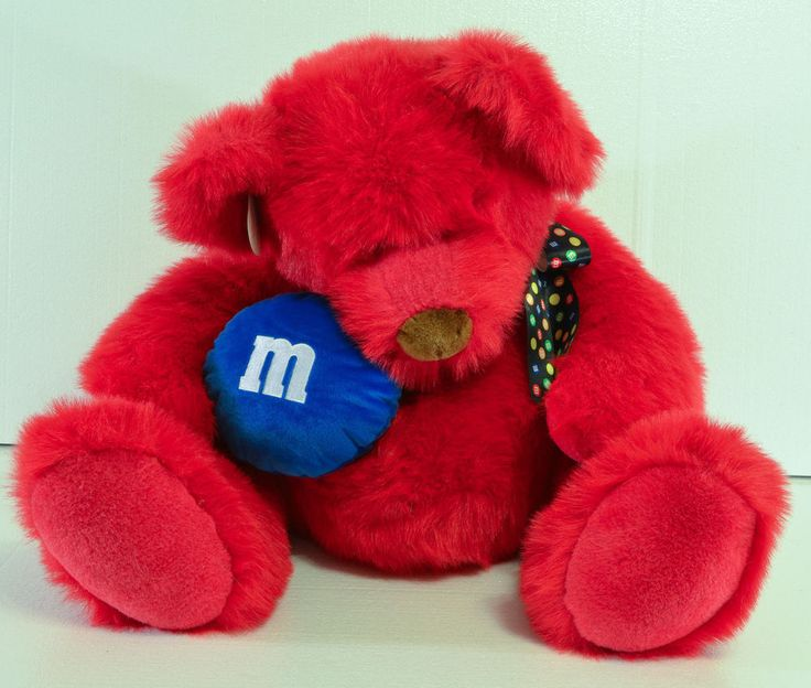 RED M&M CANDY JUMBO TEDDY BEAR PLUSH TOY Holding Blue Candy NWT M&M Store