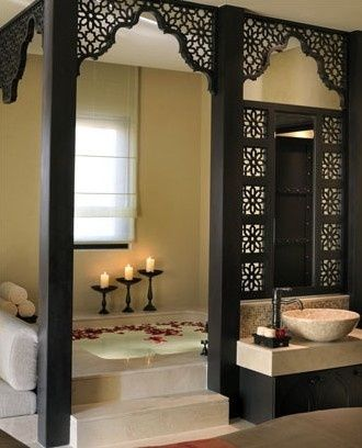 Moroccan style bathroom, bautiful  but would implement a darker, richer colour for the wallpaper!