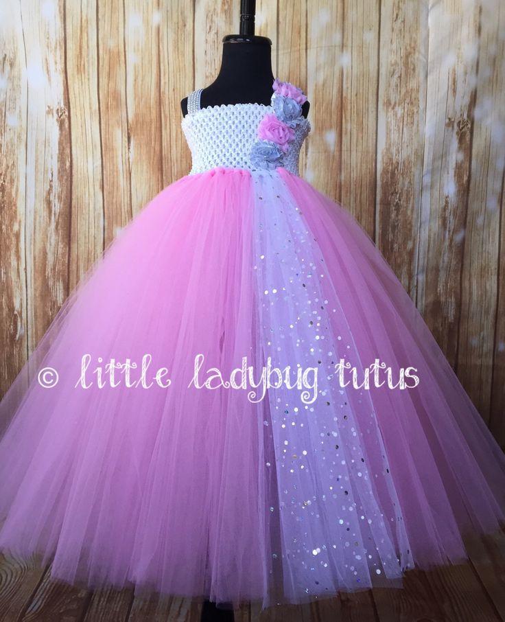 Pink and White Sequin Tulle tutu dress. Flower girl, pageant, birthday, smash cake, baby, toddler, photo prop, Easter Tutu Dress. by LittleLadybugTutus