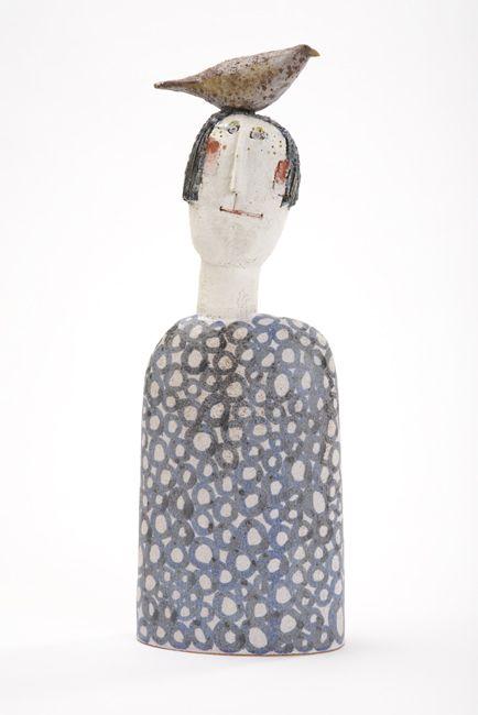 'Bird Head with Blue Circles' Jane Muir