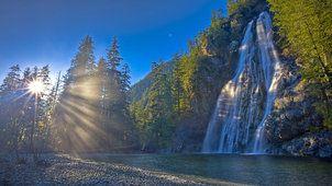 waterfall, wallpapers, river, nature, forest, wallpaper, sun, canada, kanada, original, priroda, vodopad, solnce, gdefon