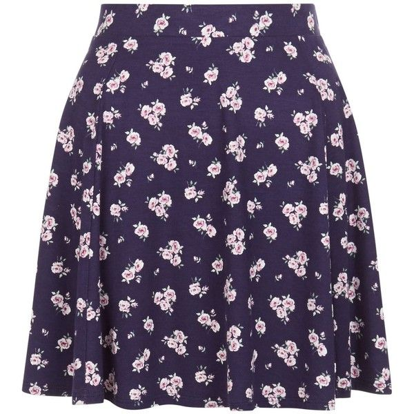 New Look Blue Ditsy Floral Print Skater Skirt ($19) ❤ liked on Polyvore featuring skirts, bottoms, purple floral skirt, circle skirt, blue skirt, flared skirt and flared floral skirt