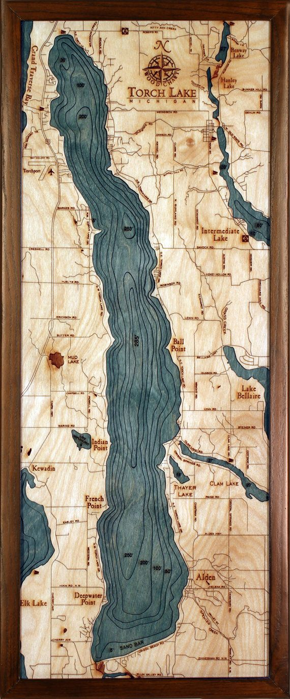 "3 Dimensional Topographic Lake Art-- TORCH LAKE, MICHIGAN 13.5"" X 31"""
