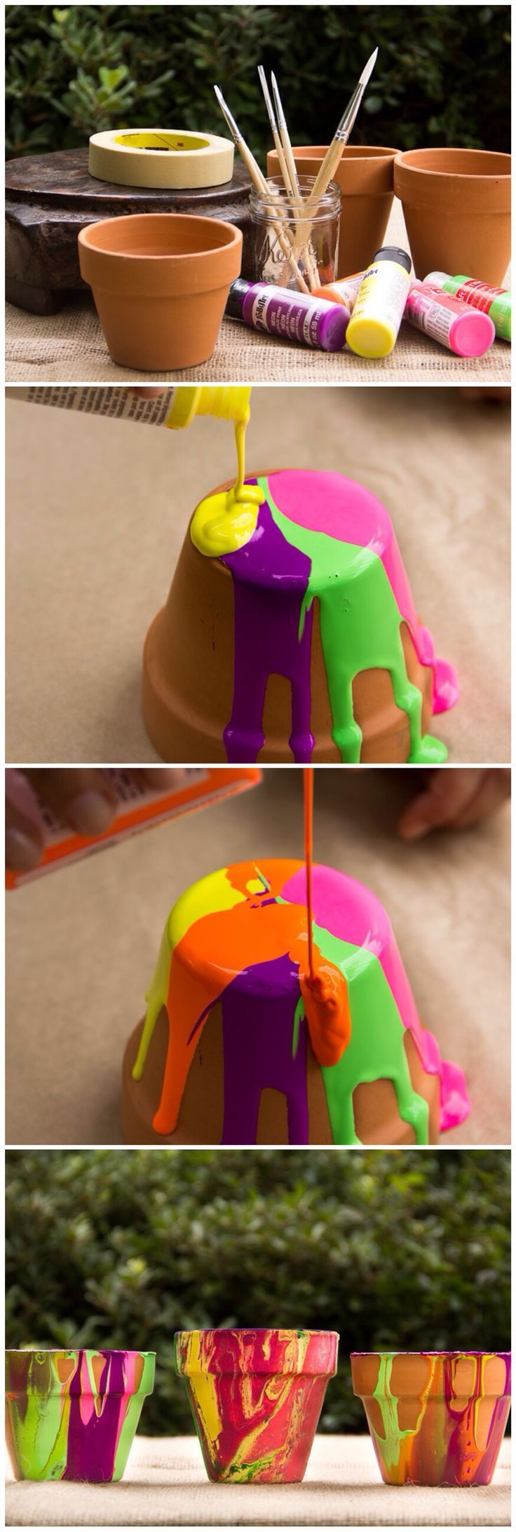 Poured Painted Pots by moonfrye.com Moonfrye DIY/ Paint Crafts/ Kids Crafts/ Kids Art Projects #Summer, #DIY, Summer Crafts