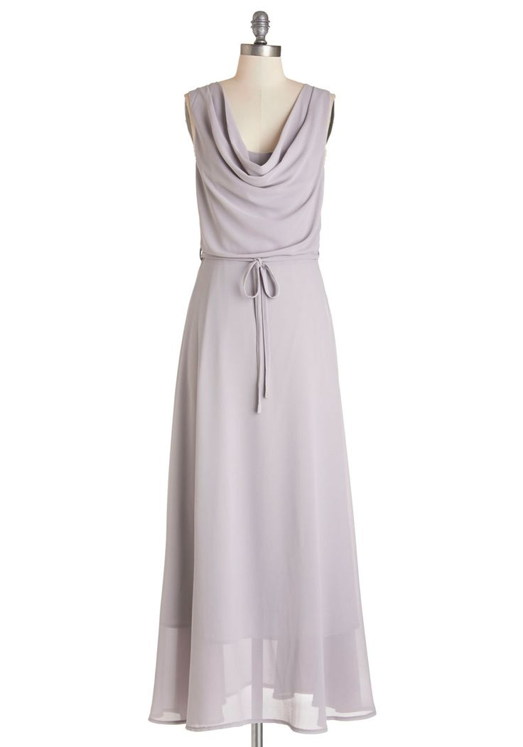 Freely Flowing Dress - Grey, Solid, Belted, Special Occasion, Wedding, Bridesmaid, A-line, Sleeveless, Woven, Better, Cowl, Long
