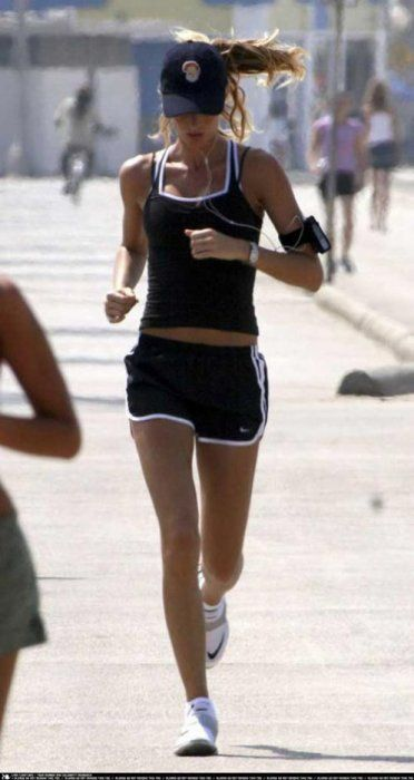 Brazilian model, Gisele Bundchen running....
